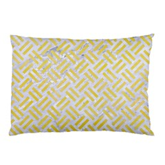 Woven2 White Marble & Yellow Watercolor (r) Pillow Case