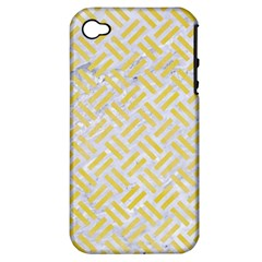 Woven2 White Marble & Yellow Watercolor (r) Apple Iphone 4/4s Hardshell Case (pc+silicone) by trendistuff