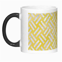 Woven2 White Marble & Yellow Watercolor Morph Mugs by trendistuff