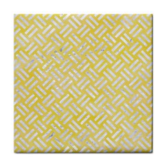 Woven2 White Marble & Yellow Watercolor Face Towel by trendistuff