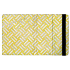 Woven2 White Marble & Yellow Watercolor Apple Ipad 2 Flip Case by trendistuff