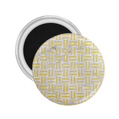 Woven1 White Marble & Yellow Watercolor (r) 2 25  Magnets by trendistuff