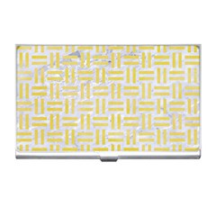 Woven1 White Marble & Yellow Watercolor (r) Business Card Holders by trendistuff