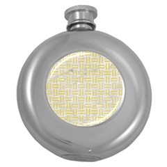 Woven1 White Marble & Yellow Watercolor (r) Round Hip Flask (5 Oz) by trendistuff