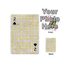Woven1 White Marble & Yellow Watercolor (r) Playing Cards 54 (mini)  by trendistuff