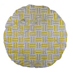 Woven1 White Marble & Yellow Watercolor (r) Large 18  Premium Round Cushions by trendistuff
