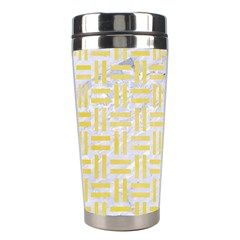 Woven1 White Marble & Yellow Watercolor (r) Stainless Steel Travel Tumblers by trendistuff