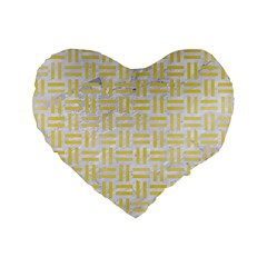 Woven1 White Marble & Yellow Watercolor (r) Standard 16  Premium Flano Heart Shape Cushions by trendistuff