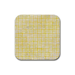 Woven1 White Marble & Yellow Watercolor Rubber Square Coaster (4 Pack)  by trendistuff