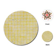 Woven1 White Marble & Yellow Watercolor Playing Cards (round)  by trendistuff