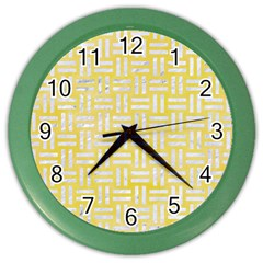 Woven1 White Marble & Yellow Watercolor Color Wall Clocks by trendistuff
