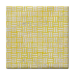 Woven1 White Marble & Yellow Watercolor Face Towel by trendistuff