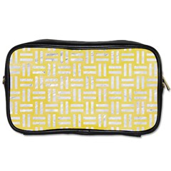 Woven1 White Marble & Yellow Watercolor Toiletries Bags by trendistuff