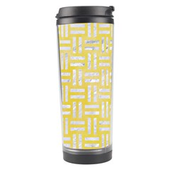 Woven1 White Marble & Yellow Watercolor Travel Tumbler by trendistuff