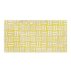Woven1 White Marble & Yellow Watercolor Satin Wrap by trendistuff