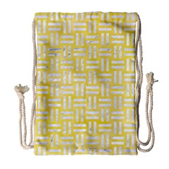 Woven1 White Marble & Yellow Watercolor Drawstring Bag (large) by trendistuff