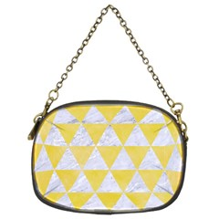 Triangle3 White Marble & Yellow Watercolor Chain Purses (two Sides)  by trendistuff