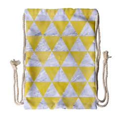 Triangle3 White Marble & Yellow Watercolor Drawstring Bag (large) by trendistuff