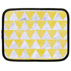 Triangle2 White Marble & Yellow Watercolor Netbook Case (large) by trendistuff