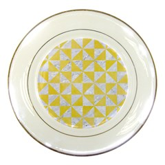 Triangle1 White Marble & Yellow Watercolor Porcelain Plates by trendistuff