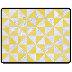Triangle1 White Marble & Yellow Watercolor Double Sided Fleece Blanket (medium)  by trendistuff