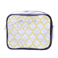 Tile1 White Marble & Yellow Watercolor (r) Mini Toiletries Bags by trendistuff