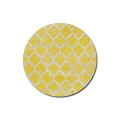 Tile1 White Marble & Yellow Watercolortile1 White Marble & Yellow Watercolor Rubber Coaster (round)  by trendistuff