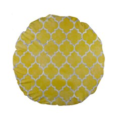 Tile1 White Marble & Yellow Watercolortile1 White Marble & Yellow Watercolor Standard 15  Premium Flano Round Cushions by trendistuff
