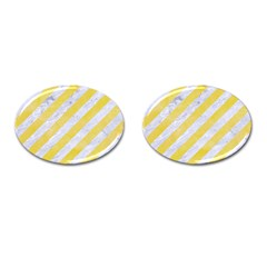 Stripes3 White Marble & Yellow Watercolor (r) Cufflinks (oval) by trendistuff