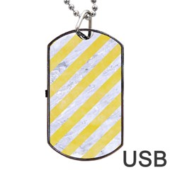 Stripes3 White Marble & Yellow Watercolor (r) Dog Tag Usb Flash (two Sides) by trendistuff