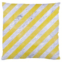 Stripes3 White Marble & Yellow Watercolor (r) Large Cushion Case (two Sides) by trendistuff