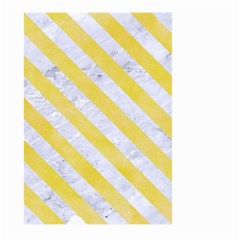 Stripes3 White Marble & Yellow Watercolor Large Garden Flag (two Sides) by trendistuff
