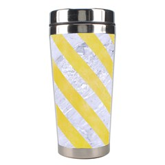 Stripes3 White Marble & Yellow Watercolor Stainless Steel Travel Tumblers by trendistuff