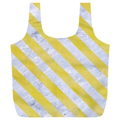 Stripes3 White Marble & Yellow Watercolor Full Print Recycle Bags (l)  by trendistuff