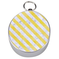 Stripes3 White Marble & Yellow Watercolor Silver Compasses by trendistuff