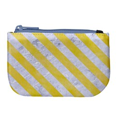 Stripes3 White Marble & Yellow Watercolor Large Coin Purse by trendistuff