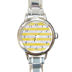 Stripes2white Marble & Yellow Watercolor Round Italian Charm Watch by trendistuff