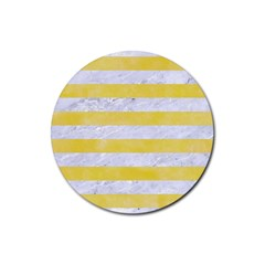 Stripes2white Marble & Yellow Watercolor Rubber Coaster (round)  by trendistuff