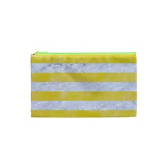 Stripes2white Marble & Yellow Watercolor Cosmetic Bag (xs) by trendistuff