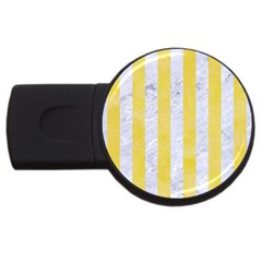 Stripes1 White Marble & Yellow Watercolor Usb Flash Drive Round (4 Gb) by trendistuff