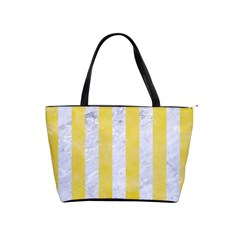 Stripes1 White Marble & Yellow Watercolor Shoulder Handbags by trendistuff