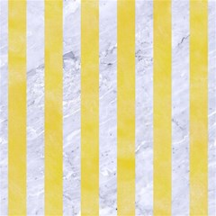 Stripes1 White Marble & Yellow Watercolor Magic Photo Cubes by trendistuff