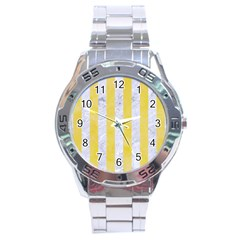 Stripes1 White Marble & Yellow Watercolor Stainless Steel Analogue Watch by trendistuff