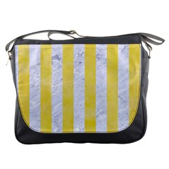 Stripes1 White Marble & Yellow Watercolor Messenger Bags by trendistuff
