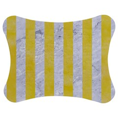 Stripes1 White Marble & Yellow Watercolor Jigsaw Puzzle Photo Stand (bow) by trendistuff
