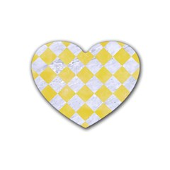 Square2 White Marble & Yellow Watercolor Heart Coaster (4 Pack)  by trendistuff