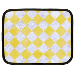 Square2 White Marble & Yellow Watercolor Netbook Case (xxl)  by trendistuff