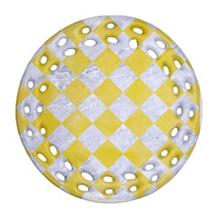 Square2 White Marble & Yellow Watercolor Ornament (round Filigree) by trendistuff