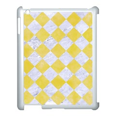 Square2 White Marble & Yellow Watercolor Apple Ipad 3/4 Case (white) by trendistuff