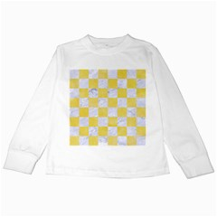 Square1 White Marble & Yellow Watercolor Kids Long Sleeve T Shirts